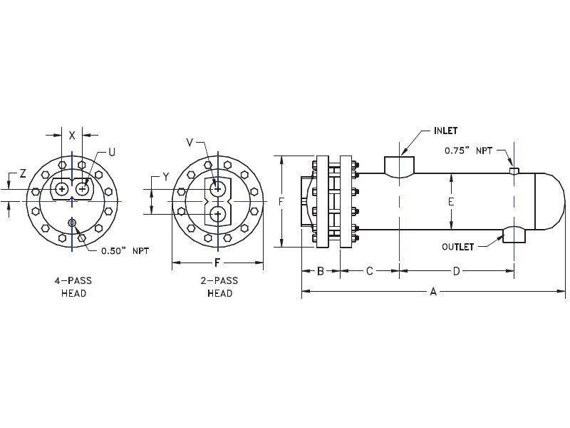 Picture of DS12242B-BH-150/150 , DOUBLE WALL STEAM TO WATER U-TUBE HEAT EXCHANGER