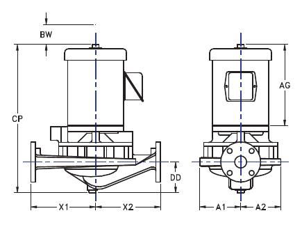 Picture of 1.5x1.5x9-TV2g-1 , TV2G IN-LINE CENTRIFUGAL PUMPS - 1750 RPM