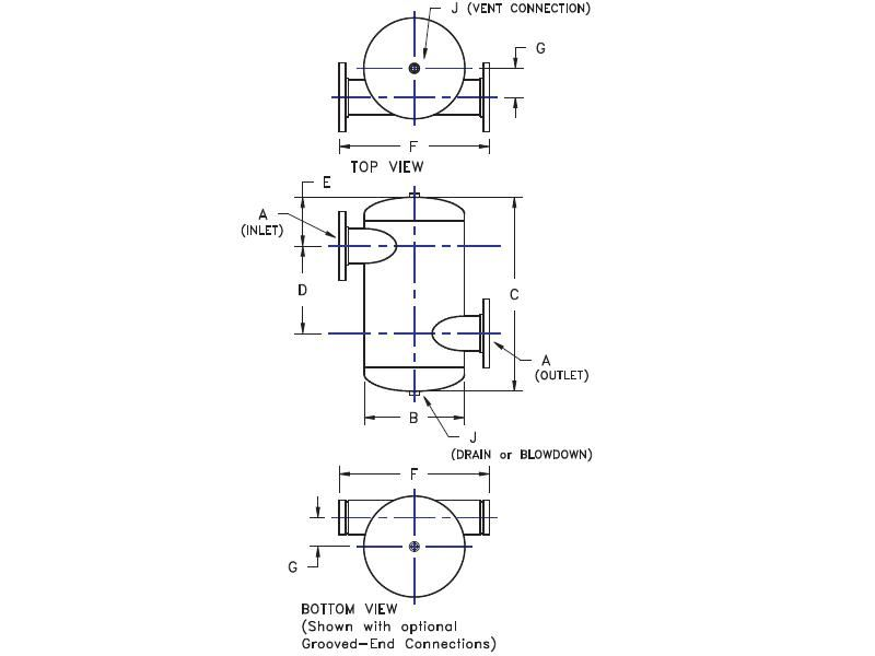 """Picture of 481-14 , TANGENTIAL AIR SEPARATORS - ASME WITHOUT STRAINER - """"U"""" STAMP"""